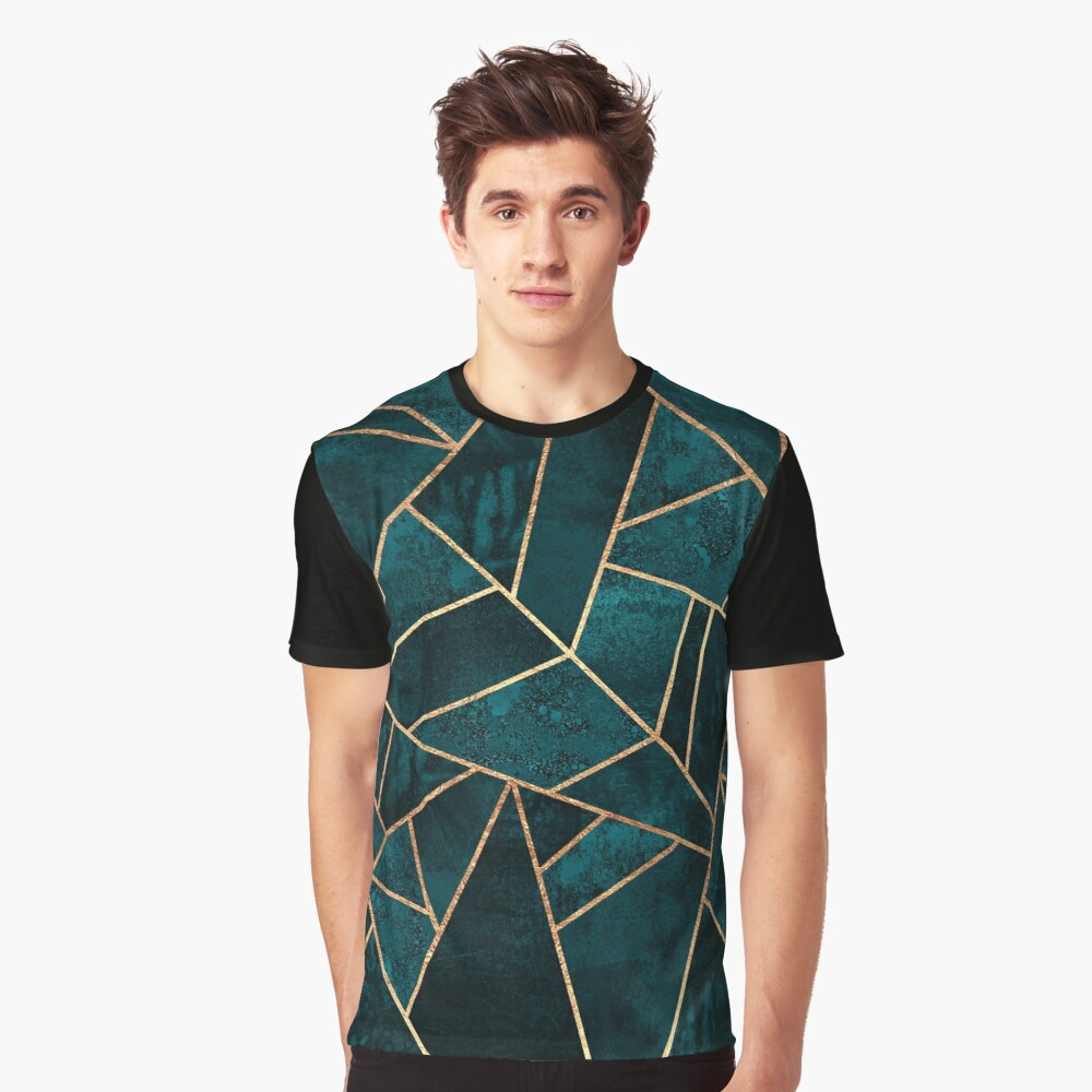 Deep Teal Stone Graphic T-Shirt