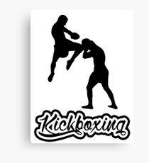 Kickboxing Man Jumping Knee Black  Canvas Print