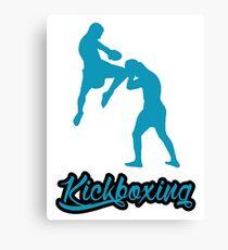 Kickboxing Man Jumping Knee Blue  Canvas Print