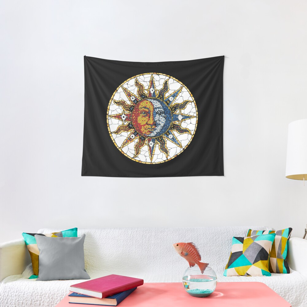 Celestial Mosaic Sun and Moon COASTER Tapestry