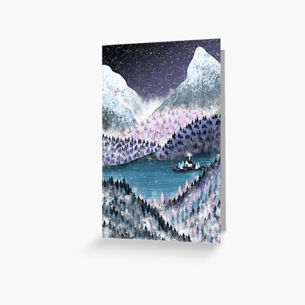 Wintery Lake View Greeting Card