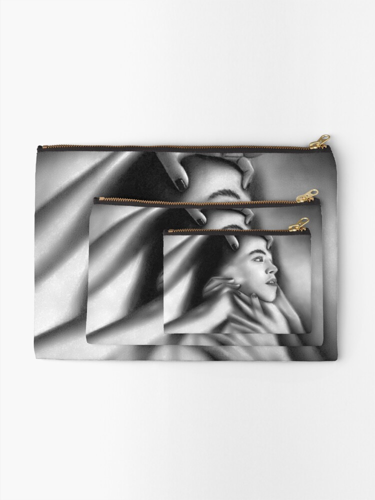 Alternate view of Death of a child (Charcoal drawing) Zipper Pouch
