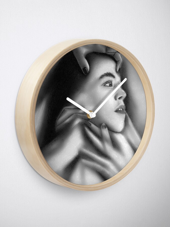 Alternate view of Death of a child (Charcoal drawing) Clock