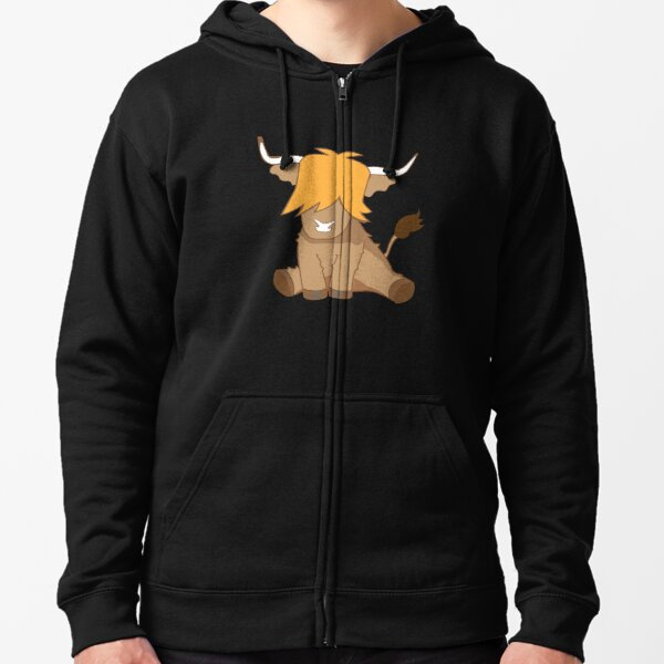 Cute ginger Highland cow  Zipped Hoodie