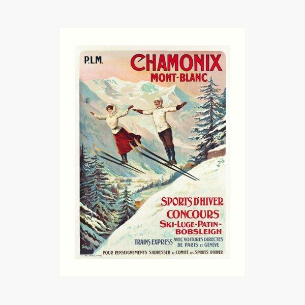 Chamonix, Mont Blanc - Vintage French Travel Poster Art Print
