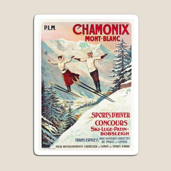 Chamonix, Mont Blanc - Vintage French Travel Poster Magnet