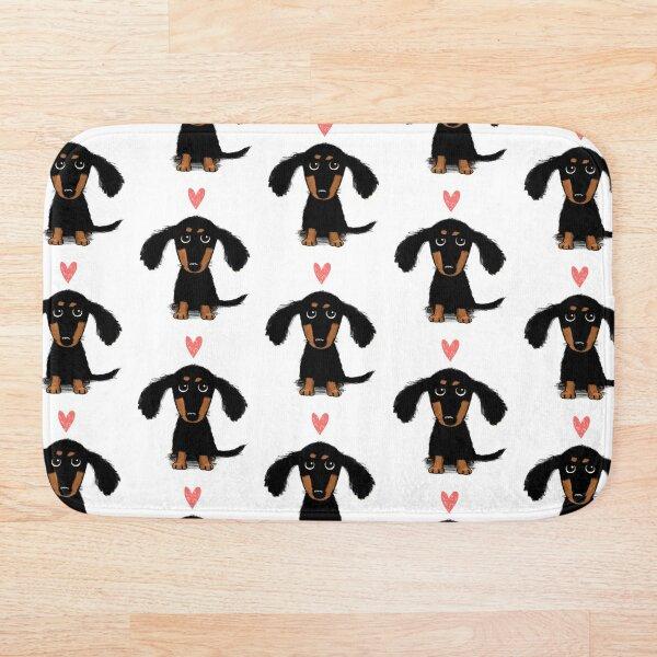 Dachshund Puppy Love | Cute Black and Tan Wiener Dog with Heart Bath Mat