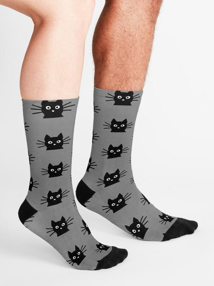 Alternate view of Black Cat Face Socks