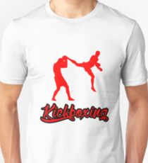 Kickboxing Man Jumping Back Kick Red  T-Shirt