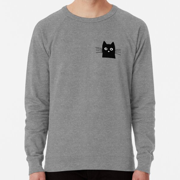 Black Cat Face Lightweight Sweatshirt