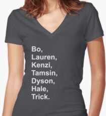 Lost Girl Main Charcters Women's Fitted V-Neck T-Shirt