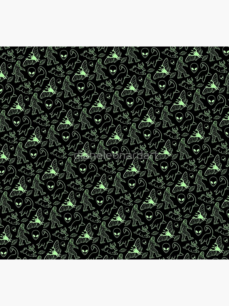 Cryptid Pattern (Green Lines) by dianeleonardart