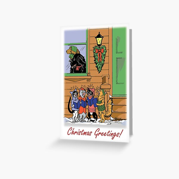 Caroling Cats (Distressed Dogs) Greeting Card