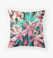Sunny Agapanthus Flower in Pink & Teal Throw Pillow