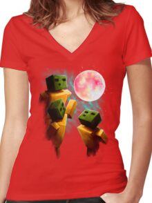 3 Sp00ns and a Moon Women's Fitted V-Neck T-Shirt