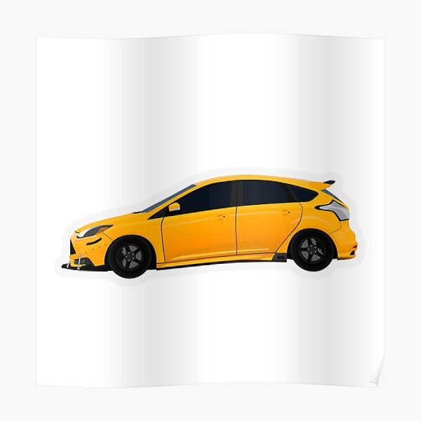 Tangerine/Yellow Ford Focus ST Poster