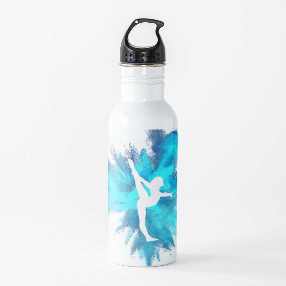 Gymnast Silhouette - Blue Explosion  Water Bottle