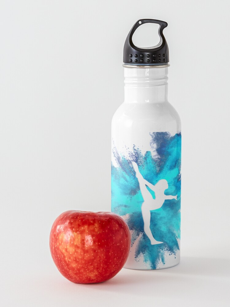 Alternate view of Gymnast Silhouette - Blue Explosion  Water Bottle