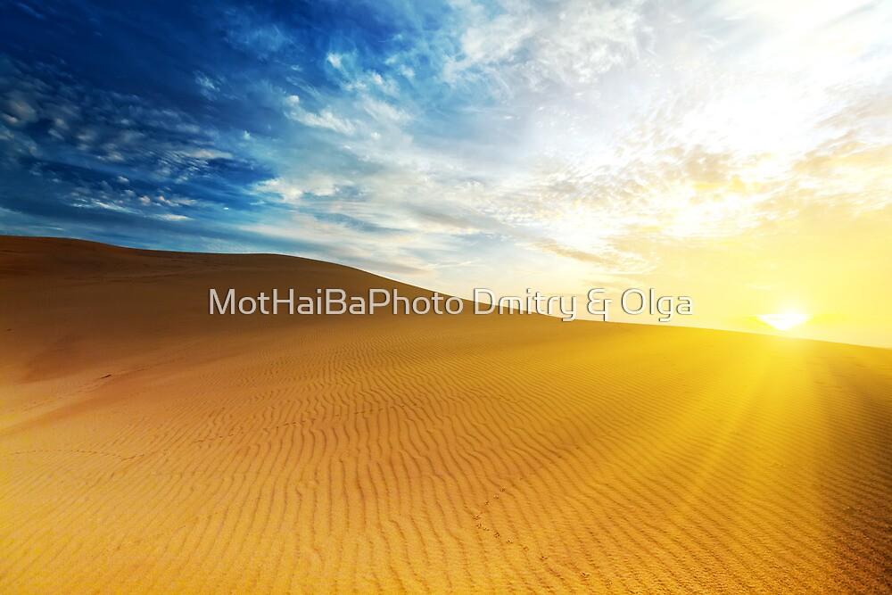 Sandy desert at sunrise time. by MotHaiBaPhoto Dmitry & Olga
