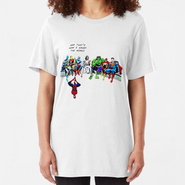 And That's How I Saved The World Jesus Superheros Christian Slim Fit T-Shirt