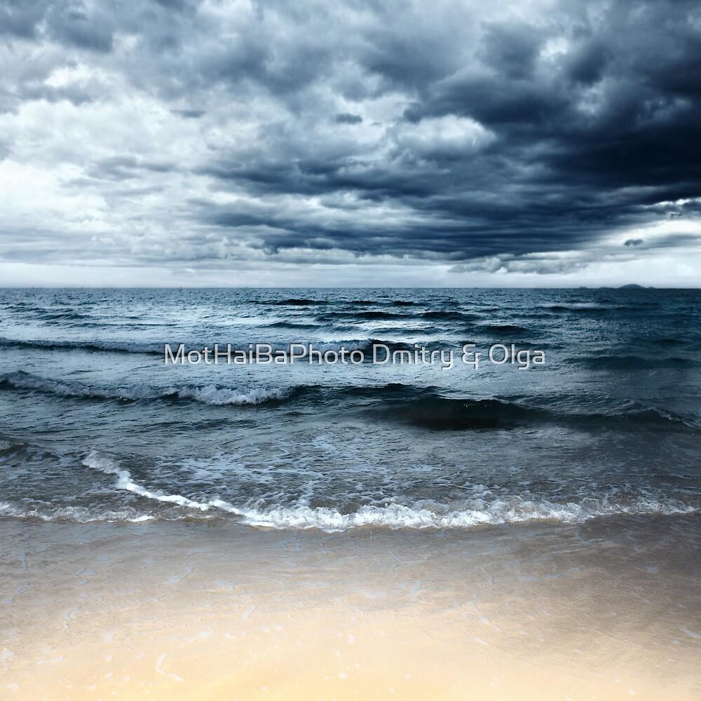 Sandy beach at stormy day. Dramatic sky by MotHaiBaPhoto Dmitry & Olga