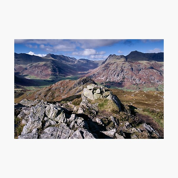 Bow Fell and the Langdale Pikes Photographic Print
