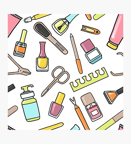 Pattern of manicure and pedicure doodle equipment. Nail art Photographic Print