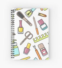 Pattern of manicure and pedicure doodle equipment. Nail art Spiral Notebook