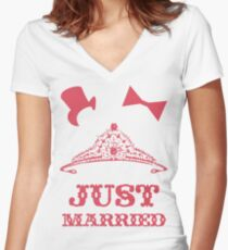Just Married Princess Bride Top Hat Groom Women's Fitted V-Neck T-Shirt