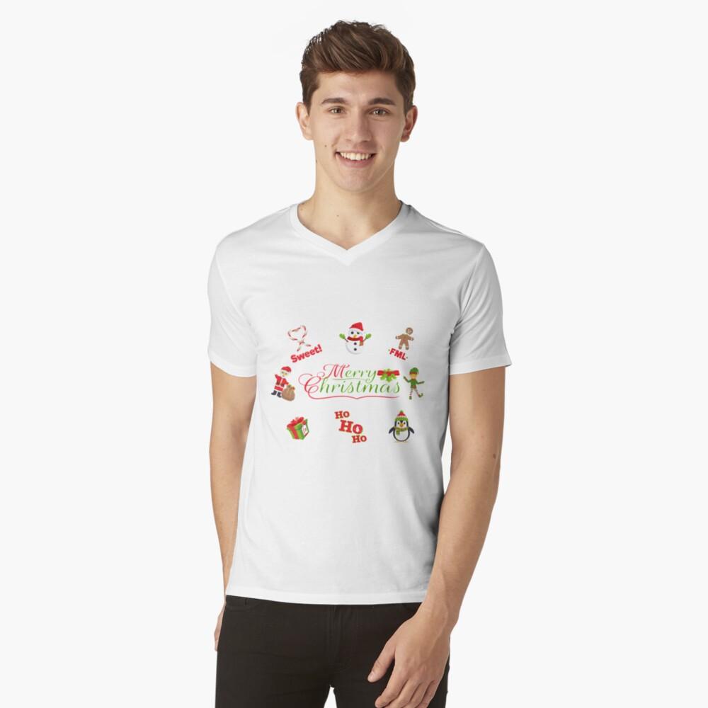 XMas pattern emoji JoyPixels V-Neck T-Shirt