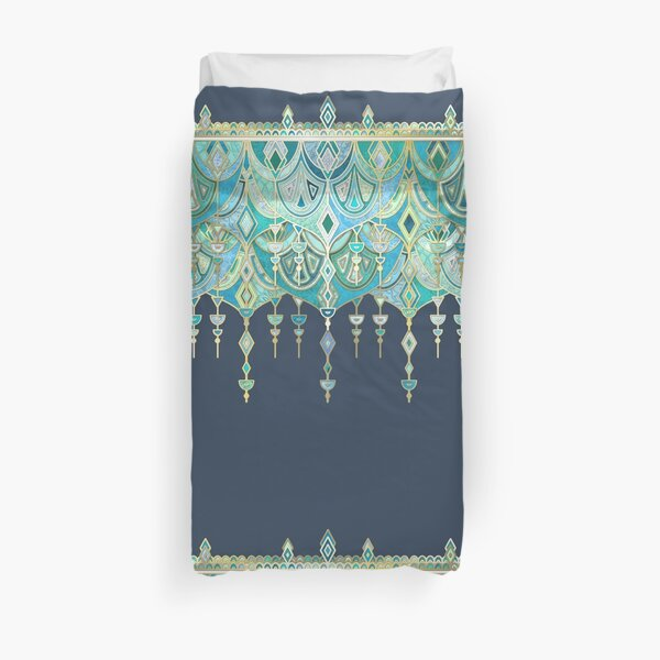 Art Deco Double Drop in Blues and Greens Duvet Cover