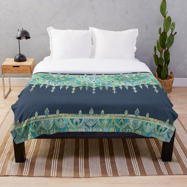 Art Deco Double Drop in Blues and Greens Throw Blanket