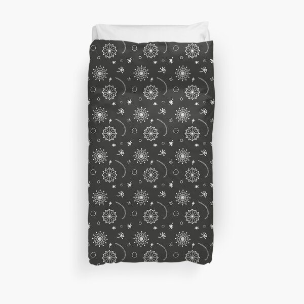 Black and White Seasonial winter vector with Snowflakes and other hand drawn images Duvet Cover