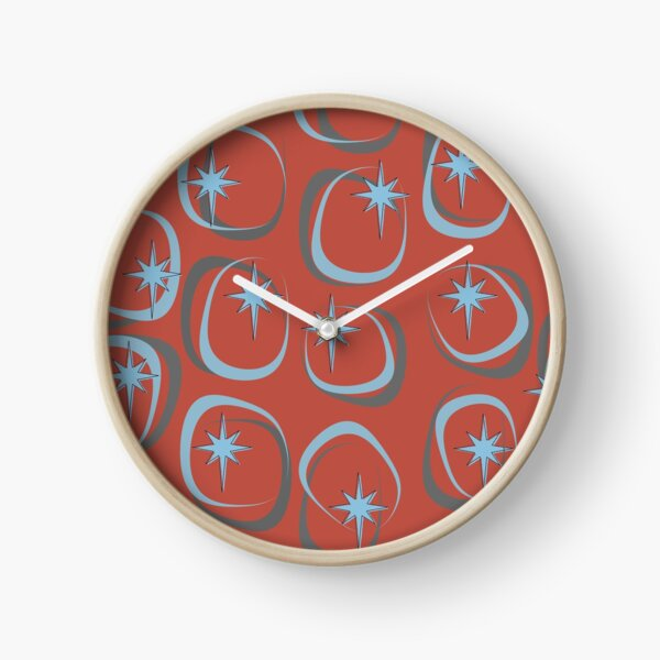 Blue Star (on Red) Clock