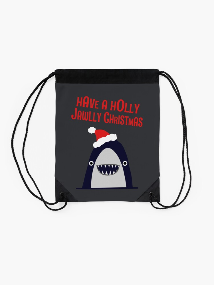 Alternate view of Have a holly, jolly Christmas... Drawstring Bag