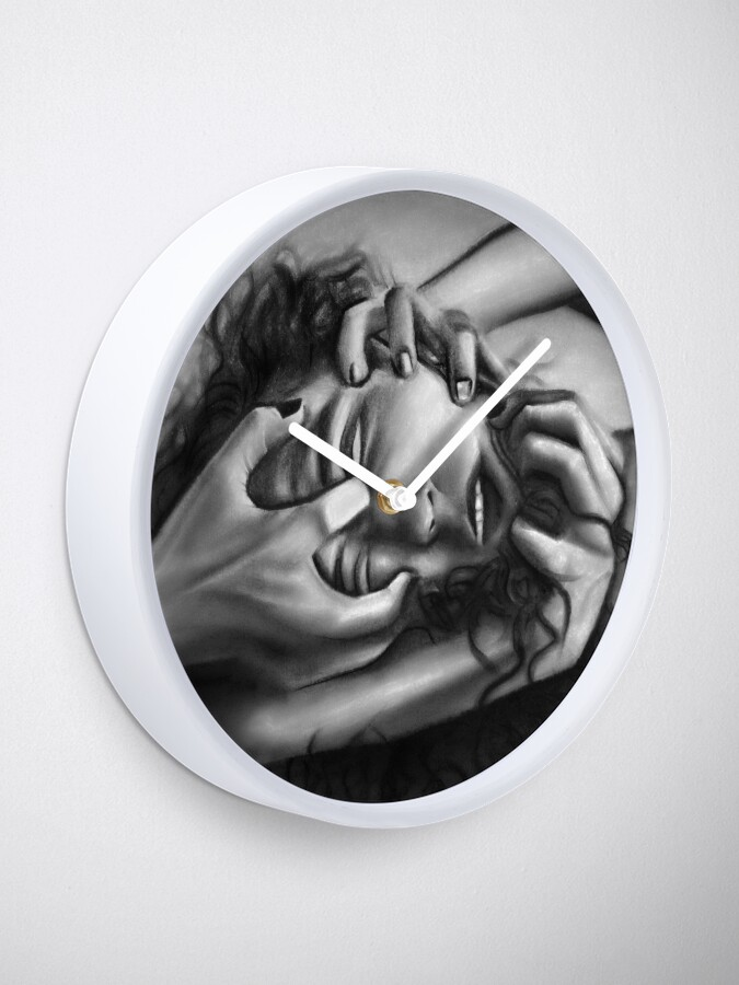 Alternate view of Death of an ego (Charcoal drawing) Clock