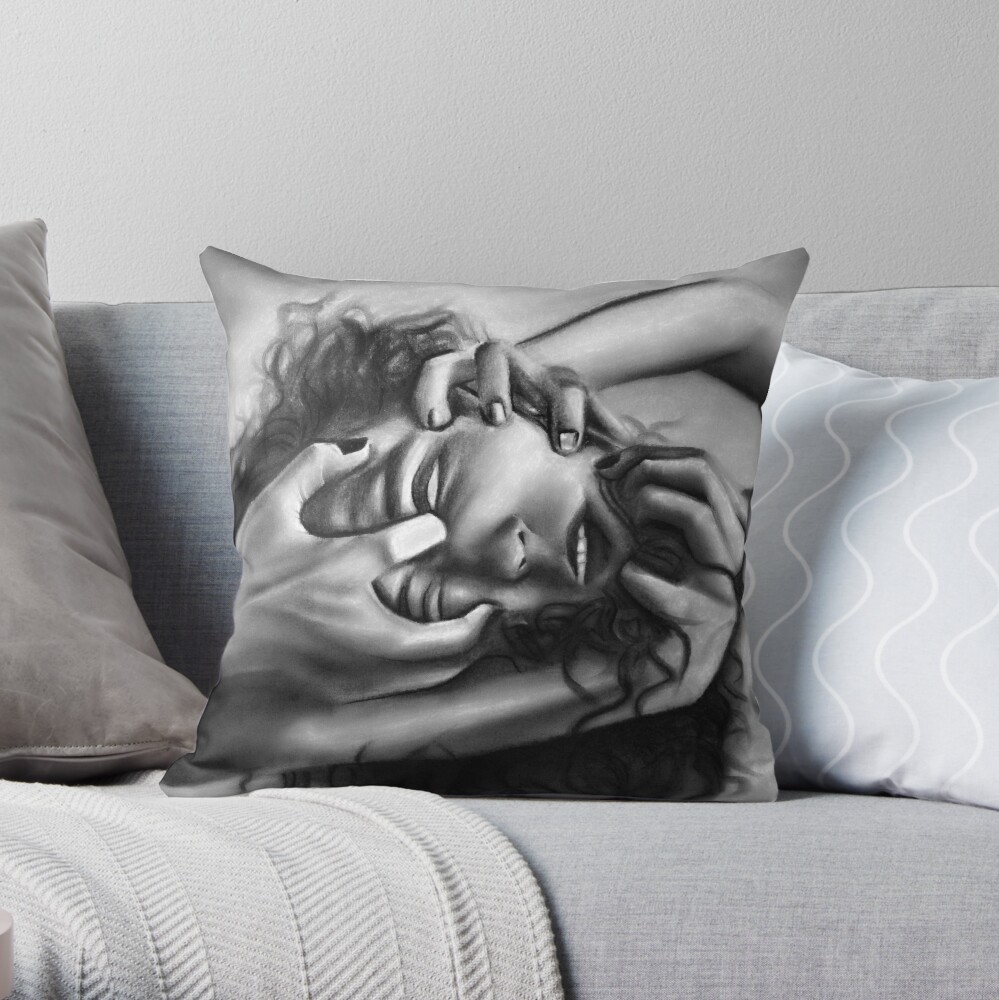 Death of an ego (Charcoal drawing) Throw Pillow