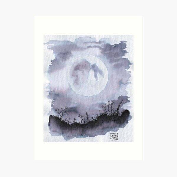 He had gone to be with the Moon at last (monochrome) Art Print