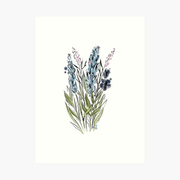 Watercolor Wildflowers Blue, Purple and Pink  Art Print