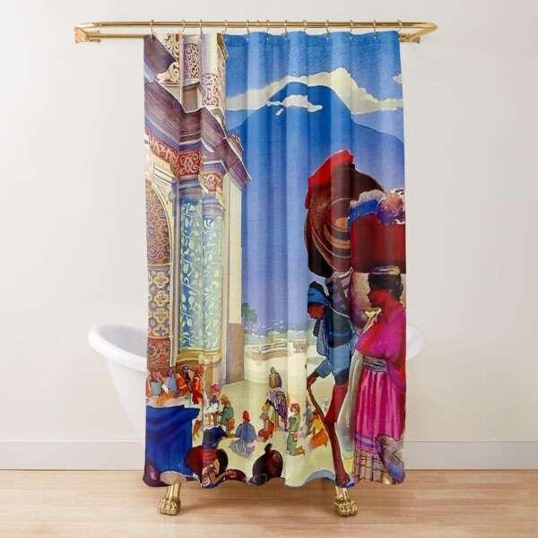 GUATEMALA Vintage Pan American Airways Advertising Print     Shower Curtain
