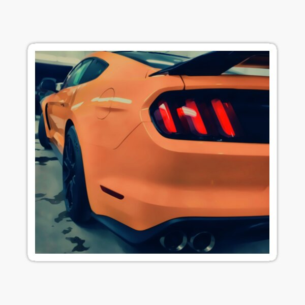 Orange Sports Car Tail Lights  Sticker