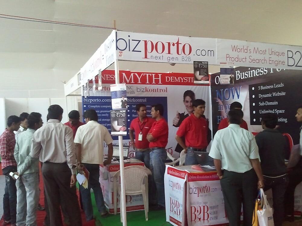Busy booth of bizporto at Global Maharashtra Conference and Trade Fair by bizporto