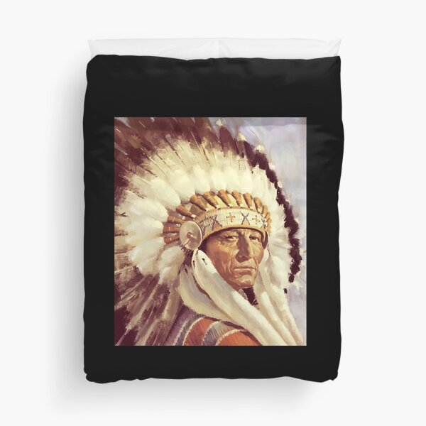 Indian Chief. Native, Tribe, American, Native American tribe, Indian, Head dress. Duvet Cover