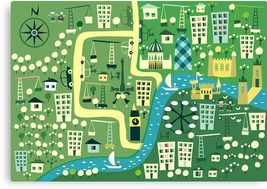 Cartoon Map of London by ychty