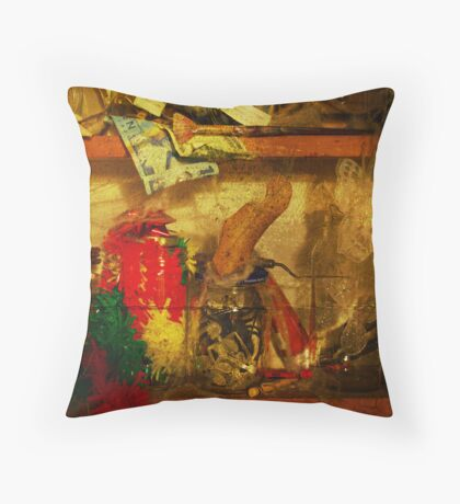 In the shelves of my cluttered mind Throw Pillow