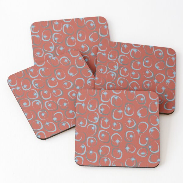 Blue Star (on Red) Coasters (Set of 4)