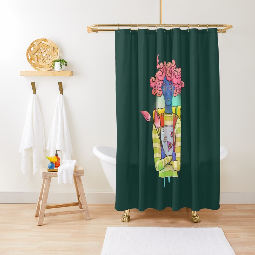 Pink curls colorful, happy illustration Shower Curtain