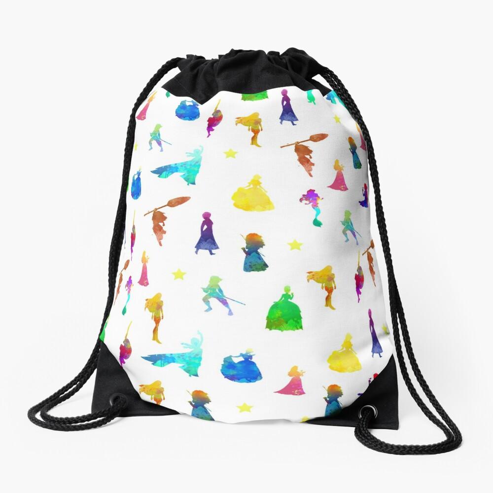 Princess Pattern Inspired Silhouette Drawstring Bag