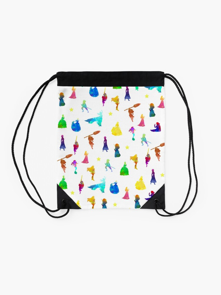 Alternate view of Princess Pattern Inspired Silhouette Drawstring Bag
