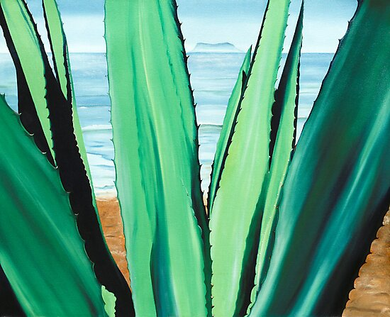 Agave de la Mar - oil painting of cactus growing on a mexican beach by James  Knowles